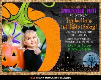 Halloween birthday invitation, Halloween birthday party invitations, Halloween 1st birthday invitation, Halloween first birthday invitation