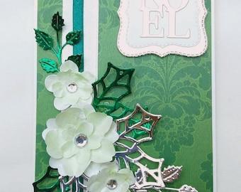Personalised Handmade Christmas Card, Christmas Rose Card, Noel Card, Boxed Christmas Card,