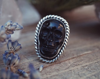 Obsidian Skull Ring  - Sterling Silver Statement Ring - Boho Rings Sterling Silver - Chunky Ring - Skull Ring