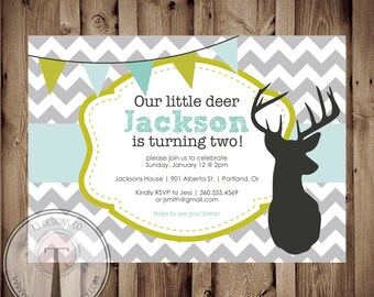 Hunting Birthday Invitation, deer birthday invitation, hunting birthday party, little boy birthday, modern hunting invitation, 1129