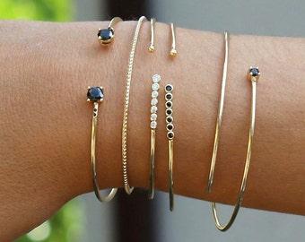 gold BANGLE- boho chic gold bangle-Gold plated silver bangle-dainty bracelet-Gold Cuff Bracelet, black cz open bangle