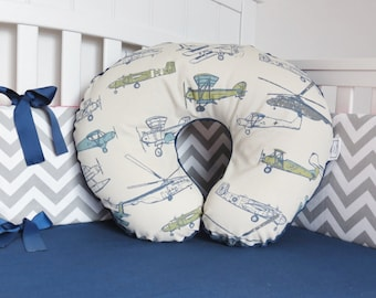 Airplane and Minky Boppy Cover - Boppy Pillow Cover, Nursing Pillow, vintage airplanes, planes, antique airplanes