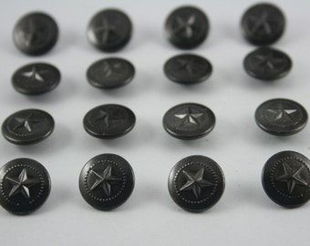 50 pcs.Black Vintage Star Round Rivet Studs Buttons Leather craft Decorations 12 mm. ST BL12 RV 0501
