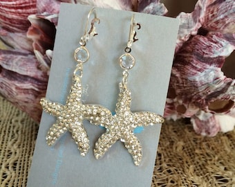 Bridal Starfish Earrings, Swarovski Crystal Drop Earrings, Destination Wedding, Starfish Earrings, Beach  Bridal Wedding, SIREN