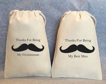 "Best Man Gift, Groomsmen, Groomsman Gift bags, Set of 9- 1 Best Man, 8 Groomsman, 4""x6"" cotton"