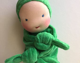 Waldorf dolls, 11 inches, blanket doll, first doll, teething dolls, Waldorf Toy, gift for baby, baby shower gift, soft doll, Easter basket