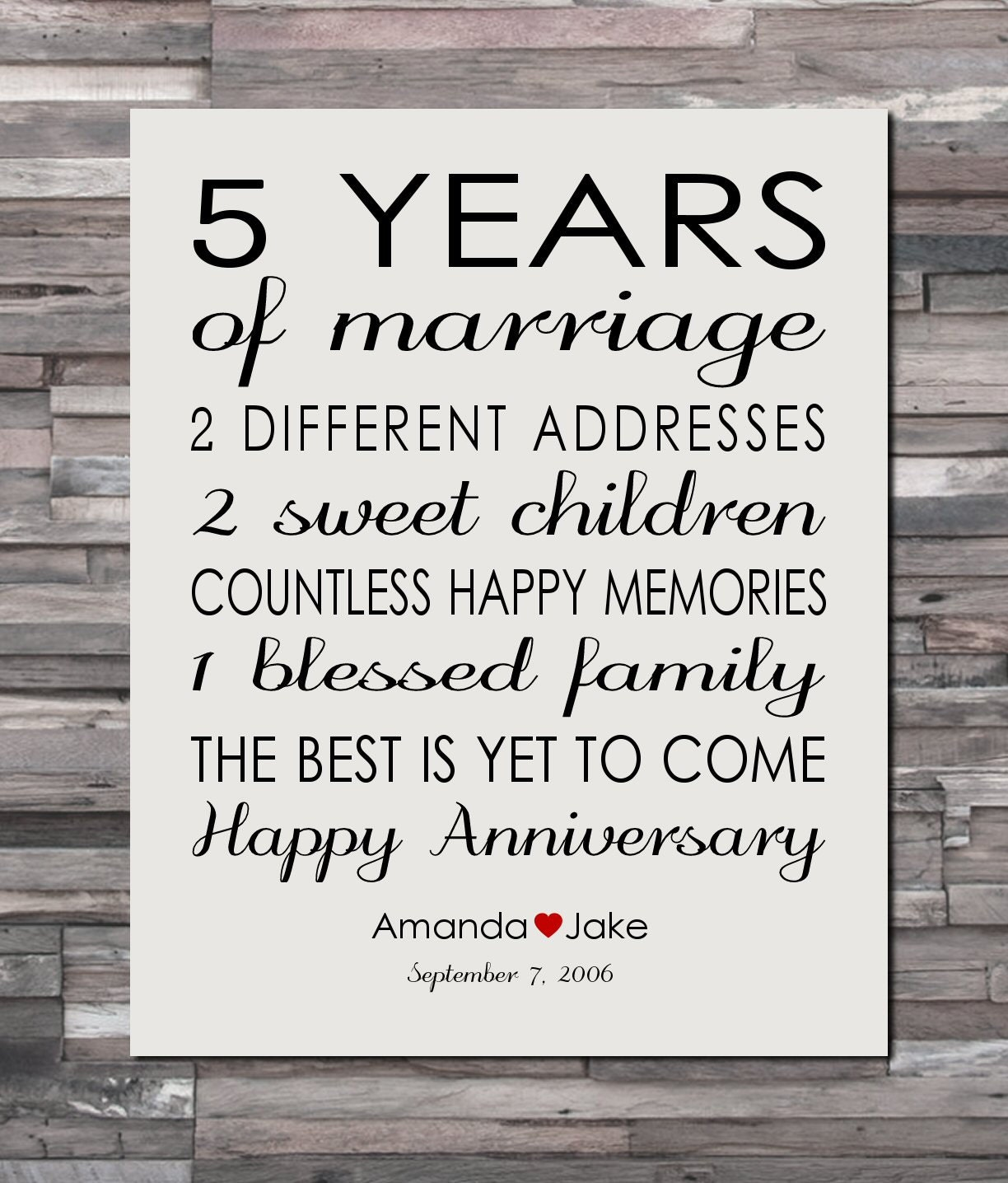 5th Anniversary Gifts For Her: Anniversary Gift Print 5 Year Wedding 5th Anniversary