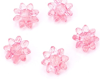 5 polyester translucent flower buttons 22mm diameter pink molded effect
