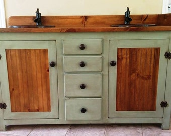 rustic pine bathroom vanities. Double Bathroom Vanity - Rustic Copper Sinks Sage Green Pine Vanities A