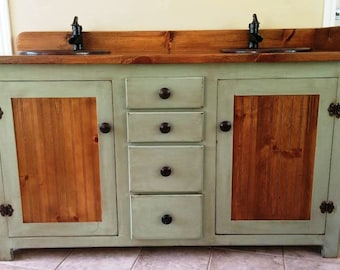 Double Bathroom Vanity   Rustic Bathroom Vanity   Bathroom Vanity   Copper  Sinks   Sage Green