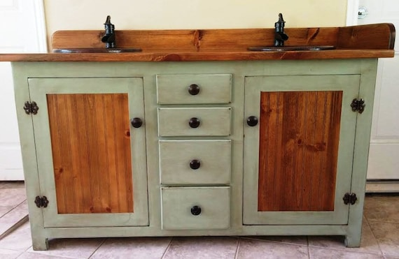 "Double Bathroom Vanity -  Rustic Bathroom Vanity - Bathroom Vanity - Copper Sinks -  Sage Green - 60""  - Bathroom Vanities - Rustic Vanity -"