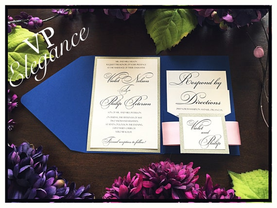 Pink And Navy Blue Wedding Invitations: Navy Blue Wedding Invitation With Blush Pink Ribbon And