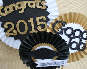 Graduation Decoration - Graduation Centerpiece - Graduation Party Decor - Black and Gold Party - Paper Rosettes