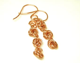 Copper Chain Mail Earrings, Copper Chain Mail Jewelry, 3 Wedding Knot, Infinity, Love Knot, Chain Maille Earrings, Chain Maille Jewelry OOAK
