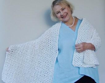Crocheted Shawls, Crochet Shawl, White Shawl, Crochet Shawls, Shawl Crochet, Shawl, Anniversary Gift, Gift for Mom, Evening Wraps Shawls
