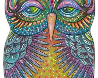 """Owlette Oralee - an 8 x 10"""" ART PRINT of a cheerful and Fun Loving Colourful Owl Art Great For Kids Rooms or Bird & Whimscal Art Lovers"""