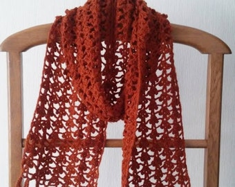 Crocheted Scarf, Lacy handmade scarf, Long elegant scarf with fringes, Gift for Her, Wool scarf, Woman's Gift, Winter accessories