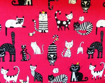 1/2 yard - Black and white cats, Westex,  Japanese import