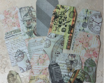 Junk Journal Tags Handmade Paper Tags Scrapbooking Paper Ephemera 18 pieces Handmade Tags
