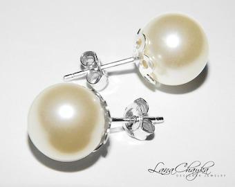 Ivory Pearl Bridal Earrings Swarovski 10mm Pearl Sterling Silver Stud Earrings Large Pearl Stud Earring Wedding Pearl Earring Bridal Jewelry