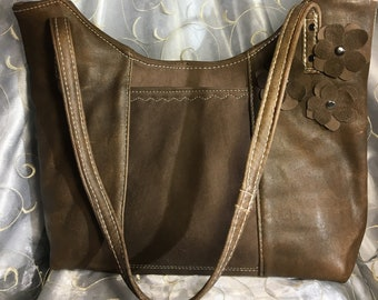 repurposed brown leather bomber bag  leather flower applique