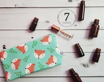 Essential Oil Case, Essential Oil Bag - Fox Happy Camper - cosmetic bag zipper pouch essential oil storage, oils