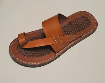 Handmade Tan Leather Sandals, Men's Sandals, Men's Leather Shoes Flip Flops Flats