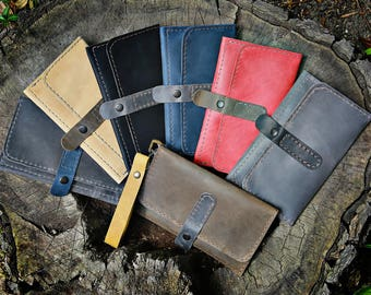 Leather wallet black wallet mens wallet women long leather wallet long wallet personalized wallet cell phone wallet card wallet men holder