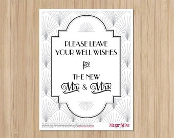 Instant Download - The Charleston Gatsby Wedding - Well Wishes Sign - Wishing Well Sign - Art Deco Wedding - The new Mr and Mrs