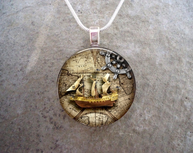 Pirate 7 - Pirate Theme Jewelry - Glass Pendant Necklace - Cosplay - Vintage Style