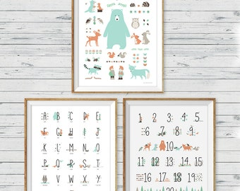 Woodland Animal Wall Art, set of 3, Woodland Alphabet Print, Woodland Number Print, Woodland Nursery, Woodland Wall Art, Nursery Art