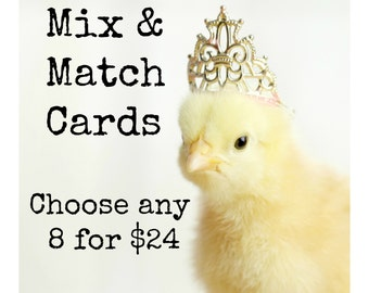 Mixed Baby Chicks Greeting Card Set Chickens Wearing Hats Hat Photo Note Cards (8) You Choose!