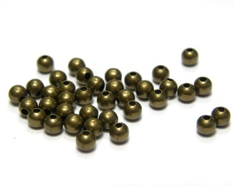 100 pc. Small Round Antique Gold Metal Beads 3 mm