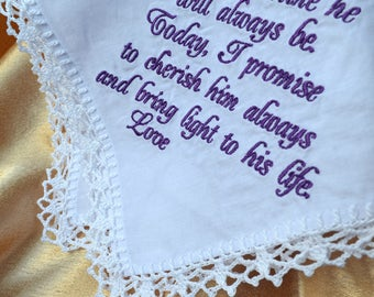 Mother of the groom gift from bride Wedding Handkerchief for mother Wedding gift for Mother in law Wedding gift for Mom