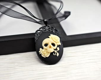 Black Skull Necklace, Black Cameo Necklace, Cameo Necklace, Black Necklace, Gothic Necklace, Cameo Jewelry, Gothic Jewelry, Skull Cameo