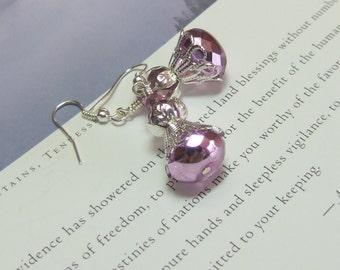 Pink Metallic Ice Czech Filigree Earrings