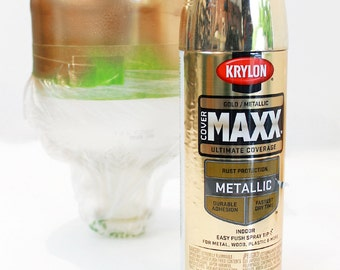 GOLD Metallic golden Finish spraY PAINT indoor & outdoor 12 oz Aerosol Can Krylon Cover Maxx 9194