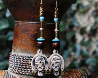 African Earrings, Tribal Earrings, African Mask Earrings, Brass Earrings, Afropunk, Bush Woman African Carved Bone Mask Earrings