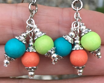 Beach Earrings, Colorful Earrings, Boho Earrings, Dangle Earrings, Vacation Earrings, Summer Earrings, Earrings