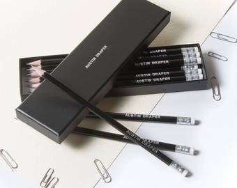 High Quality Personalised Pencils in a Box -Printed with Name - JET BLACK (plus other colours)