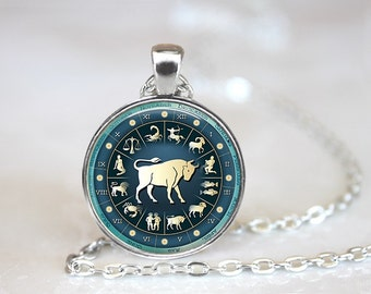 Zodiac Signs Taurus Glass Pendant, Photo Glass Necklace, Glass Keychain, Glass Jewelry