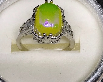Iridescent Yellow Fused Glass Ring