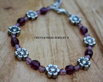 Purple Bracelet with Silver Flowers - Czech Glass Bracelet - Flower Bracelet - Beaded Bracelet - Adjustable Bracelet - Two Feathers Jewelry
