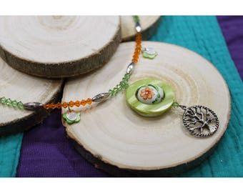 Tree of life necklace flowers Orange green - handmade Creation
