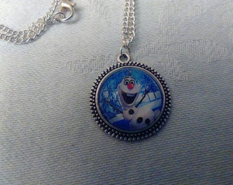 Necklace glass cabochon, Medallion silvery metal olaf snowman snow