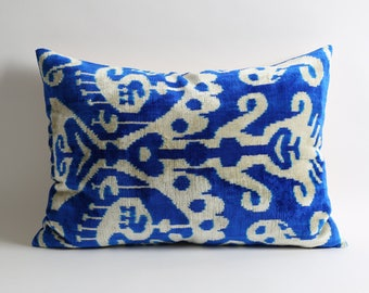 "Handmade Blue Pillow Covers, 16""x22"" Velvet Pillow Covers, Blue white pillows Luxury Bohemian home decor"