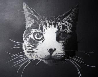 PAINT YOUR PET - Sushi Cat - Spray paint stencil on canvas