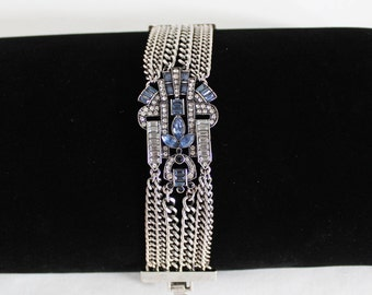 Vintage Mid-Century Art Deco Blue and Clear Crystal Rhinestone Bracelet