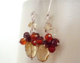 Citrine Garnet Carnelian cluster earrings, wire wrapped Sterling Silver earrings red yellow gemstone jewelry, Fall jewelry made in Australia