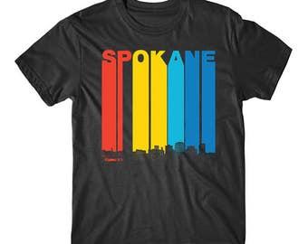 Vintage 1970's Style Spokane Washington Skyline T-Shirt
